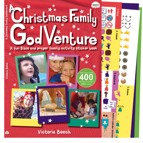 A sticker activity book with fun ways for families to explore the story of Christmas in the Bible and pray together