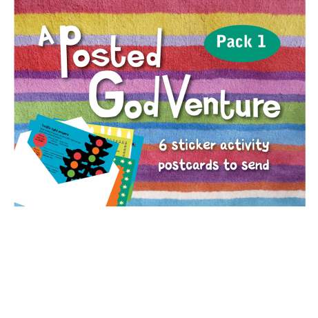 A pack of 6 sticker activity postcards with envelopes to send them