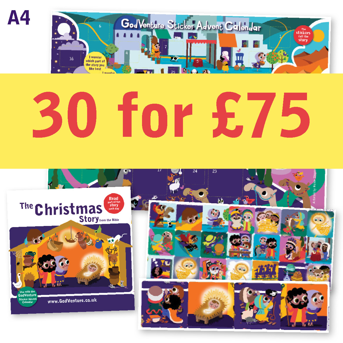 A4 Calendar Advent offer Sticker pack of 30