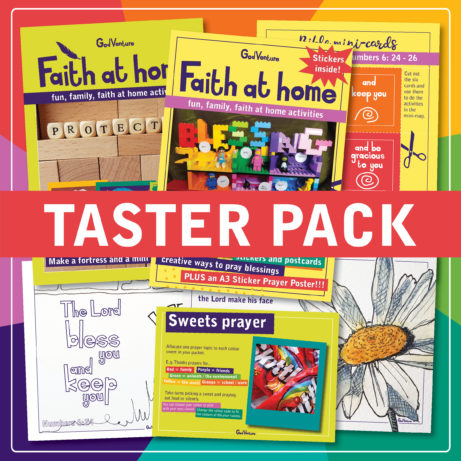 a pack of faith at home devotional family resources with stickers and mini-mags and fun stuff to do